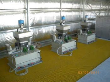Suspended bund grating using FRP legs at WWTP